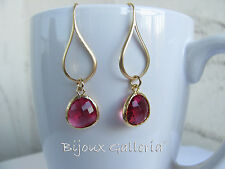 Gorgeous Gold Plated Teardrop with Gemstone Dangle Earrings.