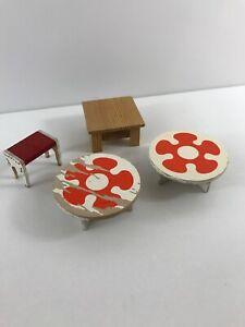 vintage wooden dollhouse furniture lot retro orange  tables Table Seat