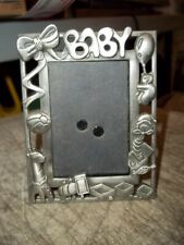 "Pewter Looking 3-3/8""x4-1/2"" Small Easel Baby Picture Frame Holds 2""x3"" Picture"