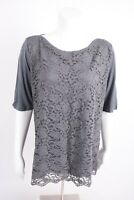 New York & Company Women's Lace Blouse Shirt XL Gray Half Sleeve Career NWT