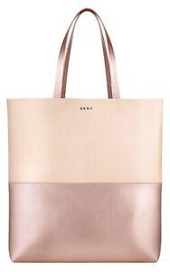 DKNY Donna Karan Blush Pink and Rose Gold Designer Tote Bag / Shopper / Beach