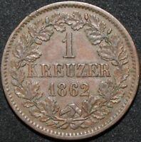 1862 | German States Baden 1 Kreuzer | Copper | Coins | KM Coins