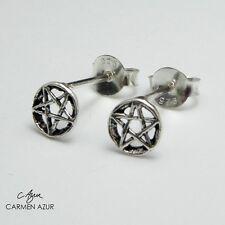 Solid 925 Sterling Silver Stud Earrings Pentagram / Pentacle, New with Gift Bag
