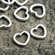 100pcs Hearts Love Link Connectors Antique Silver DIY Jewelry Findings 10x11x2mm