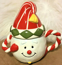 Giftcraft Snowman Sugar Dish 2 Piece set Christmas ceramic red & white smiling