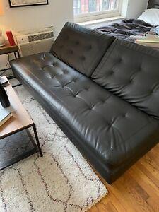 Black Leather Futon Sofa Bed