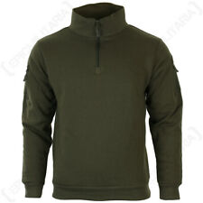 Ranger Green Sweatshirt with Zipper - High collar headphone outlet patch Army