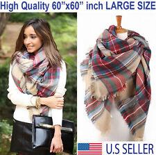 Plaid Blanket Scarf Oversized Tartan Wrap Shawl Cozy Checked Pashmina Women Hot