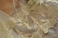"Gold Embroidery Trim 11"" Bridal Lace Edging Scallop Wedding Lace Fabric 1 Yard"