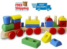 Stacking Train Classic Wooden Toddler Educational Toy Boys Girls 18 pcs Ages 2 +
