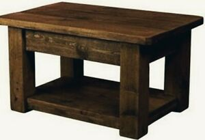 New Real  Solid Wooden COFFEE TABLE side CHUNKY RUSTIC PLANK PINE Furniture