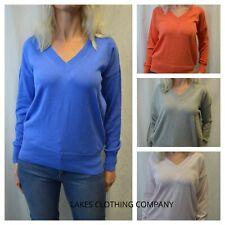 M&S Cotton Jumper Ladies V Neck Long Sleeve Jumper Top Blue Mango Pink Grey SML