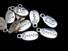 10 Pcs - 18mm Tibetan Silver Baby Feet Remember Tags Jewellery Children U119