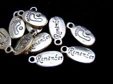 10 Pcs - 18mm Tibetan Silver Baby Feet Remember Tags Jewellery Children U119