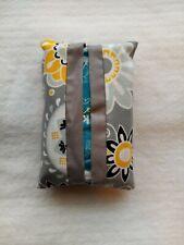 Tissue Packet Grey Yellow White Pocket Holder Fabric Cover Handmade