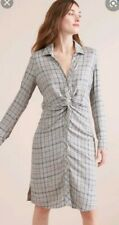 CHECKED SHIRT DRESS size 20 yellow NEXT grey LONG SLEEVES casual COLLAR blue