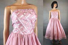 50s Style Prom Dress Jrs 3/4 XS Retro Pink Chiffon Satin Strapless Gown Flip