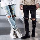 Hot Men Straight Jeans Slim Casual Ripped Pants Denim JEAN Pants Skinny Trousers