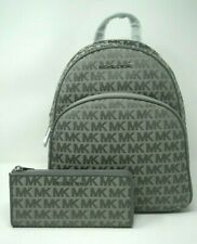 Michael Kors Abbey Medium Heather Grey Signature Backpack and Wallet Set