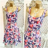NEW LOOK  UK 18 Lilac & Pink Floral Fit & Flare  Bow Dolly Dress Swing Retro