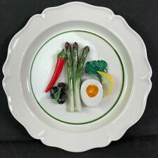 Vietri 3-D Handpainted Display Plate Italy Egg and Veggies