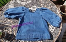 Zara Denim Blouse With Puff Sleeves  XS Extra Small 6 New The Robin Blouse