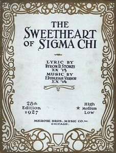 The Sweetheart of Sigma Chi 1927 Sheet Music