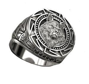 Stainless Steel Viking Norse Ring Viking Warrior Wolf Head Ring Band Men Women
