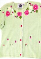 Green Embroidered Beaded Cardigan Sweater Floral Ladybugs Storybook Knits Sm