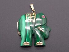 14k Yellow Gold Carved Green Malachite Elephant Charm PendantAnimals & Insects
