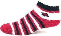 Arkansas Razorbacks NCAA Black Red Stripes Fuzzy Quarter Socks