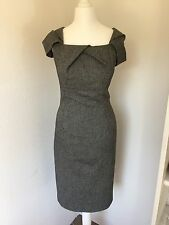 M&S Autograph Grey Wool Tweed Galaxy Style Pencil Dress Size 8