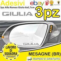 3 ADESIVI Alfa Romeo Giulia SPECCHIETTO INTERNO Giulietta Mito 147 159 Stelvio