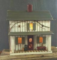 Farmhouse, Lighted House, Primitive Farmhouse , Farmhouse Decor , Birdhouse