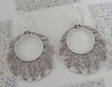 Leaf Design Solid Silver, 925 Bali Handcrafted Hoop Earring 34521