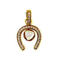 Solid 14k Yellow Gold HORSE SHOE Charm Pendant Diamond Pave Vintage Look Jewelry