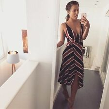 Casual Striped Wrap Dresses