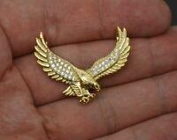 10k Solid Gold Created Diamond Eagle Pendant 3.6g