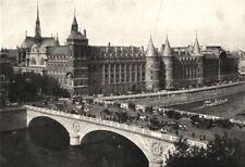PARIS. Paris. Palais de Justice et Pont- au- change 1900 old antique print