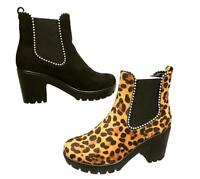NEW WOMENS LADIES STUDDED CHELSEA ANKLE BOOTS LOW MID BLOCK HEEL BOOTS SIZE 3-8