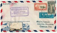 1940 NEW ZEALAND AIRMAIL TO CANTON ISLAND - PLANE PHOTO ATTACHED - 1/9d POSTAGE
