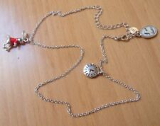 DAIRES ALICE IN WONDERLAND THEMED NECKLACE WITH 3 CHARMS-HARE/CLOCK/IM LATE-50cm