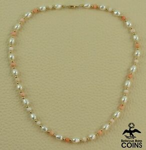 14k Yellow Gold, Pink Coral, & Pearl Beaded Necklace w/ Fishhook Clasp