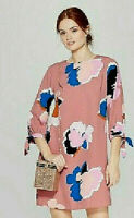 *Womens Size Small Floral Print Elbow Length Sleeve Crewneck Crepe Dress Pink