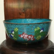 """Sale-Antique Chinese Bowl Cloisonné Peony Flower & Leaves -Mark """"CHINA""""-Republic"""