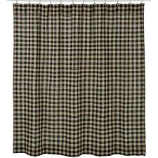 Burlap Black Check Country Shower Curtain
