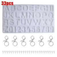 33PCS Silicone Crystal Glue Mould Letter/Number Mold Kit DIY Resin Jewelry