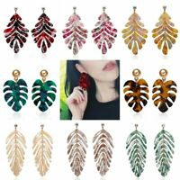 Fashion Boho Geometric Crystal Acrylic Leaf Stud Earrings Dangle Drop Jewellery