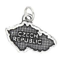 LGU® Sterling Silver Oxidized Travel Map of Czech Republic Charm (Options)