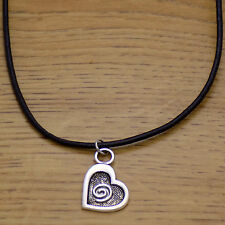 Awesome Cute Fashion Heart Spiral Pendant & Black Leather Adjustable Necklace